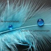 trkisefarbene Feder mit zwei blauen Wassertropfen